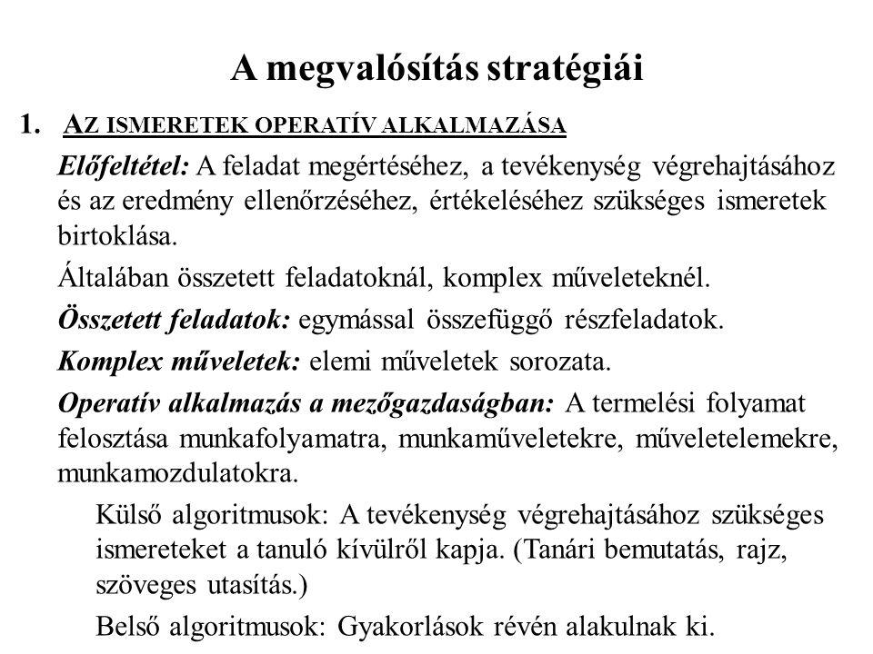 A megvalósítás stratégiái 1.A Z ISMERETEK OPERATÍV ALKALMAZÁSA Előfeltétel: A feladat megértéséhez, a tevékenység végrehajtásához és az eredmény ellen