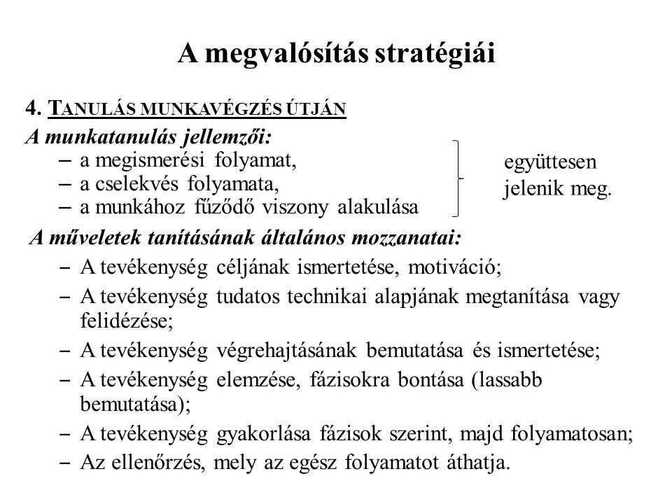 A megvalósítás stratégiái 4. T ANULÁS MUNKAVÉGZÉS ÚTJÁN A munkatanulás jellemzői: – a megismerési folyamat, – a cselekvés folyamata, – a munkához fűző