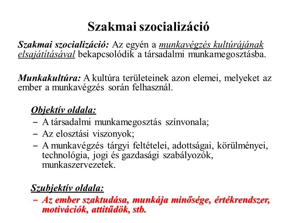 Szakmai szocializáció Szakmai szocializáció: Az egyén a munkavégzés kultúrájának elsajátításával bekapcsolódik a társadalmi munkamegosztásba. Munkakul