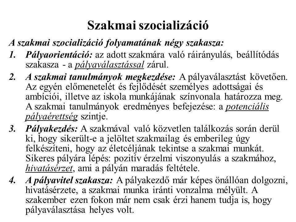 Szakmai szocializáció A szakmai szocializáció folyamatának négy szakasza: 1.Pályaorientáció: az adott szakmára való ráirányulás, beállítódás szakasza