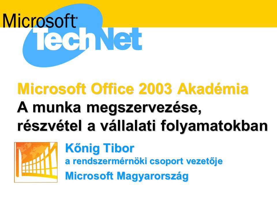 Microsoft Office 2003 Akadémia A munka megszervezése, részvétel a vállalati folyamatokban Kőnig Tibor a rendszermérnöki csoport vezetője Microsoft Magyarország