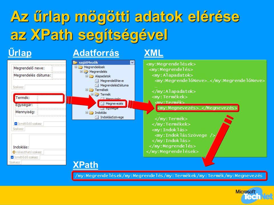 Az űrlap mögötti adatok elérése az XPath segítségével … … ŰrlapAdatforrásXML XPath /my:Megrendelések/my:Megrendelés/my:Termékek/my:Termék/my:Megnevezés
