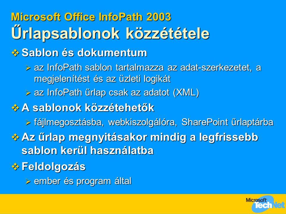 Microsoft Office InfoPath 2003 Űrlapsablonok közzététele  Sablon és dokumentum  az InfoPath sablon tartalmazza az adat-szerkezetet, a megjelenítést és az üzleti logikát  az InfoPath űrlap csak az adatot (XML)  A sablonok közzétehetők  fájlmegosztásba, webkiszolgálóra, SharePoint űrlaptárba  Az űrlap megnyitásakor mindig a legfrissebb sablon kerül használatba  Feldolgozás  ember és program által