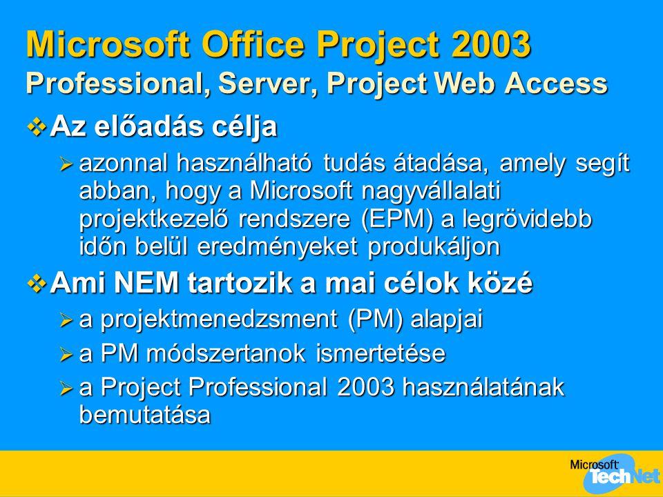 Microsoft Office Project 2003 Professional, Server, Project Web Access  Az előadás célja  azonnal használható tudás átadása, amely segít abban, hogy a Microsoft nagyvállalati projektkezelő rendszere (EPM) a legrövidebb időn belül eredményeket produkáljon  Ami NEM tartozik a mai célok közé  a projektmenedzsment (PM) alapjai  a PM módszertanok ismertetése  a Project Professional 2003 használatának bemutatása