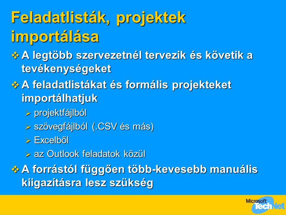 Feladatlisták, projektek importálása  A legtöbb szervezetnél tervezik és követik a tevékenységeket  A feladatlistákat és formális projekteket importálhatjuk  projektfájlból  szövegfájlból (.CSV és más)  Excelből  az Outlook feladatok közül  A forrástól függően több-kevesebb manuális kiigazításra lesz szükség