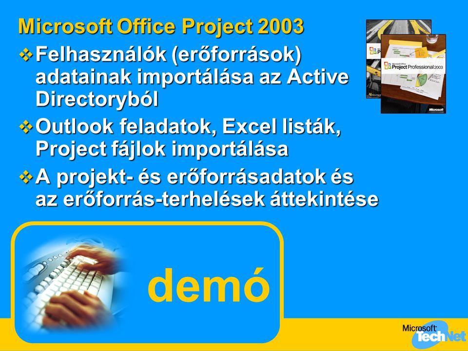 demó Microsoft Office Project 2003  Felhasználók (erőforrások) adatainak importálása az Active Directoryból  Outlook feladatok, Excel listák, Project fájlok importálása  A projekt- és erőforrásadatok és az erőforrás-terhelések áttekintése
