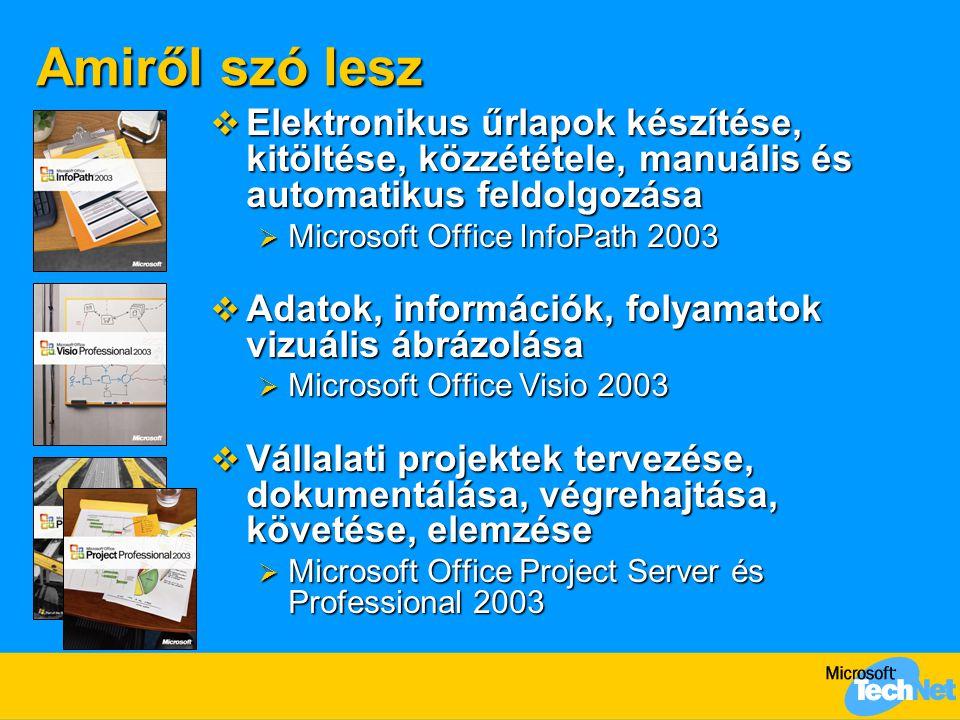 Amiről szó lesz  Elektronikus űrlapok készítése, kitöltése, közzététele, manuális és automatikus feldolgozása  Microsoft Office InfoPath 2003  Adatok, információk, folyamatok vizuális ábrázolása  Microsoft Office Visio 2003  Vállalati projektek tervezése, dokumentálása, végrehajtása, követése, elemzése  Microsoft Office Project Server és Professional 2003