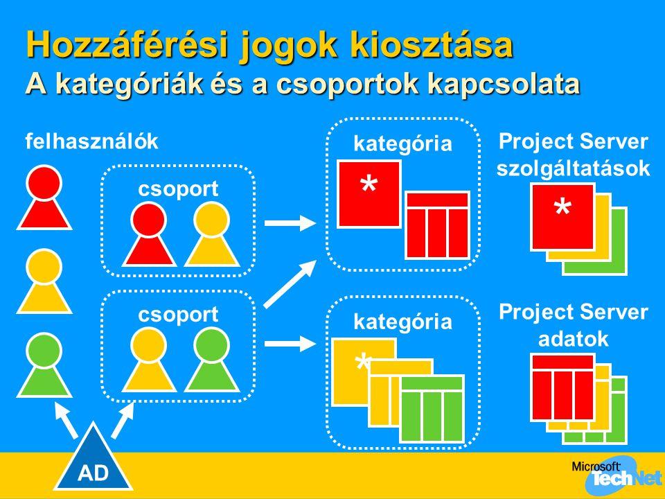 Hozzáférési jogok kiosztása A kategóriák és a csoportok kapcsolata * * * Project Server szolgáltatások Project Server adatok kategória * * csoport felhasználók AD