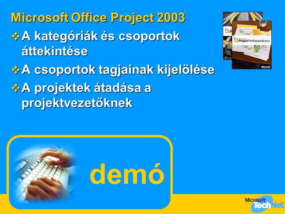 demó Microsoft Office Project 2003  A kategóriák és csoportok áttekintése  A csoportok tagjainak kijelölése  A projektek átadása a projektvezetőknek