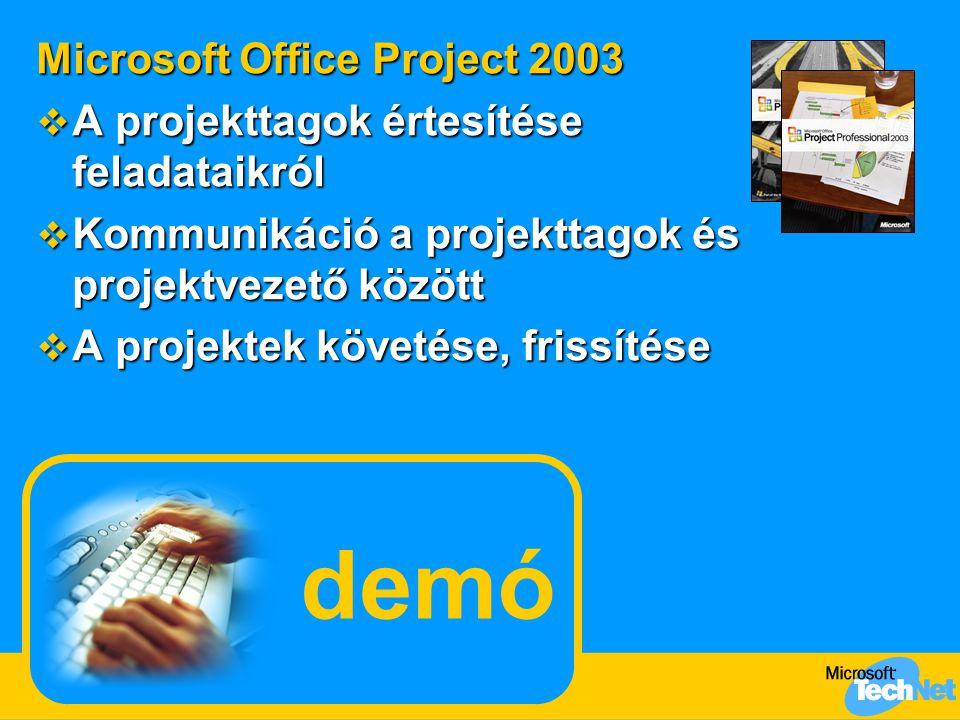 demó Microsoft Office Project 2003  A projekttagok értesítése feladataikról  Kommunikáció a projekttagok és projektvezető között  A projektek követése, frissítése