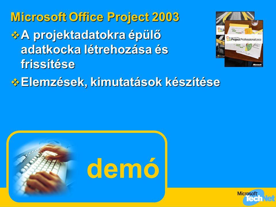 demó Microsoft Office Project 2003  A projektadatokra épülő adatkocka létrehozása és frissítése  Elemzések, kimutatások készítése