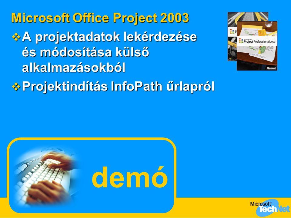 demó Microsoft Office Project 2003  A projektadatok lekérdezése és módosítása külső alkalmazásokból  Projektindítás InfoPath űrlapról