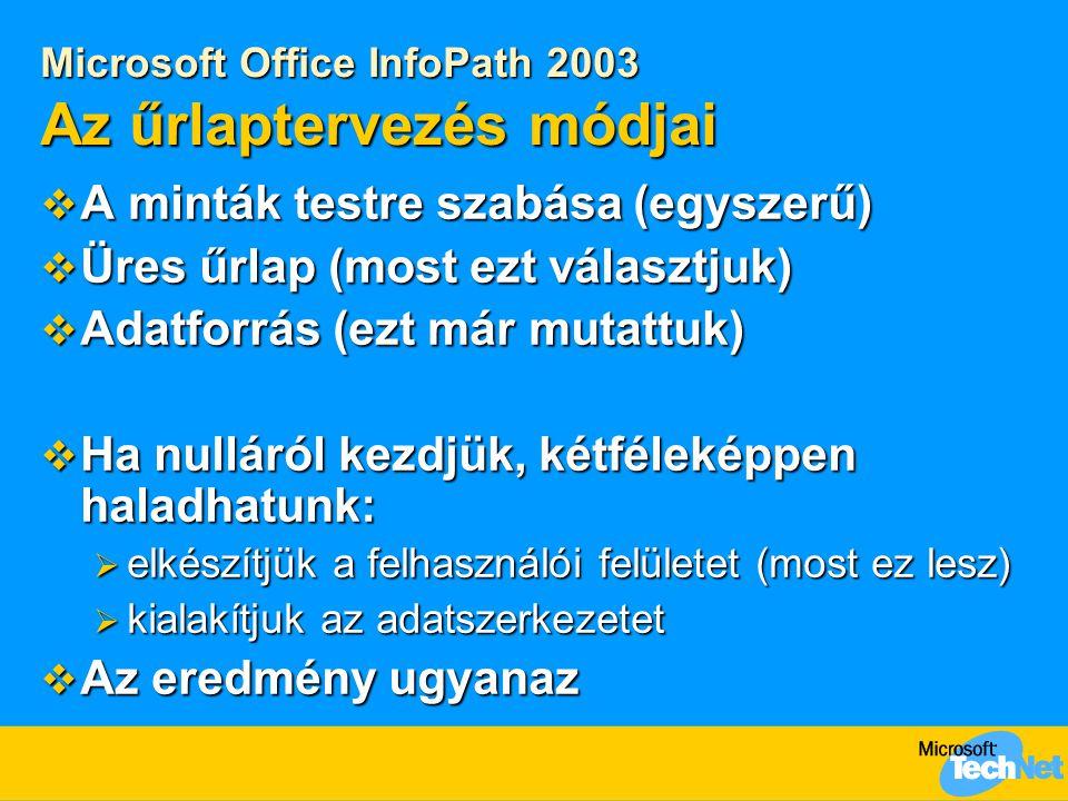 Microsoft Office InfoPath 2003 Az űrlaptervezés módjai  A minták testre szabása (egyszerű)  Üres űrlap (most ezt választjuk)  Adatforrás (ezt már mutattuk)  Ha nulláról kezdjük, kétféleképpen haladhatunk:  elkészítjük a felhasználói felületet (most ez lesz)  kialakítjuk az adatszerkezetet  Az eredmény ugyanaz
