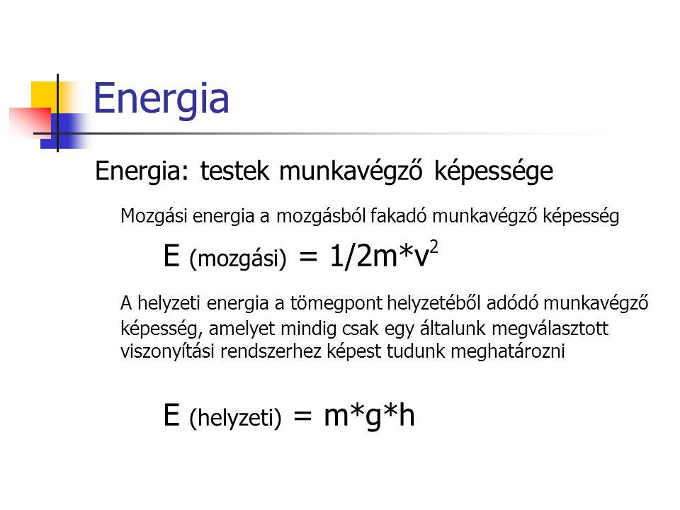 Energia Energia: testek munkavégző képessége Mozgási energia a mozgásból fakadó munkavégző képesség E (mozgási) = 1/2m*v 2 A helyzeti energia a tömegp