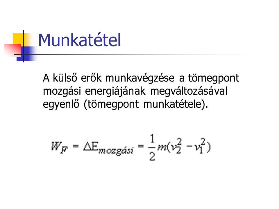 Munkatétel A külső erők munkavégzése a tömegpont mozgási energiájának megváltozásával egyenlő (tömegpont munkatétele).