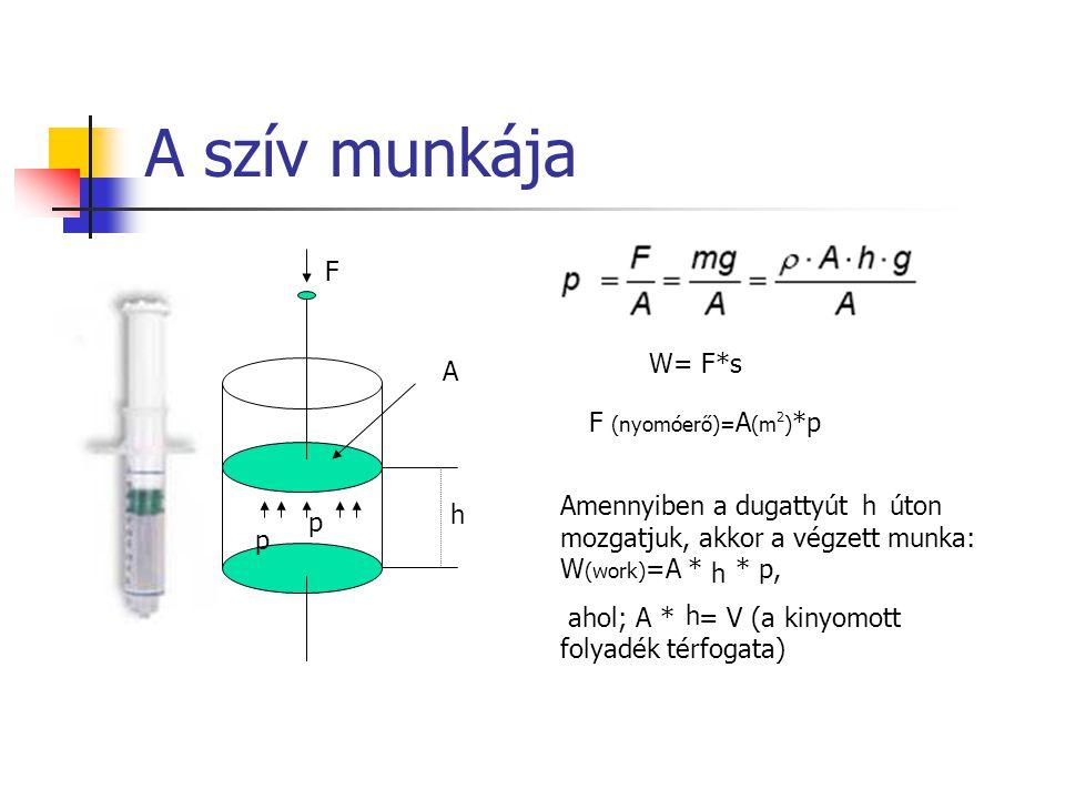 F A F (nyomóerő)= A (m 2 ) *p Amennyiben a dugattyút úton mozgatjuk, akkor a végzett munka: W (work) =A * * p, ahol; A * = V (a kinyomott folyadék tér