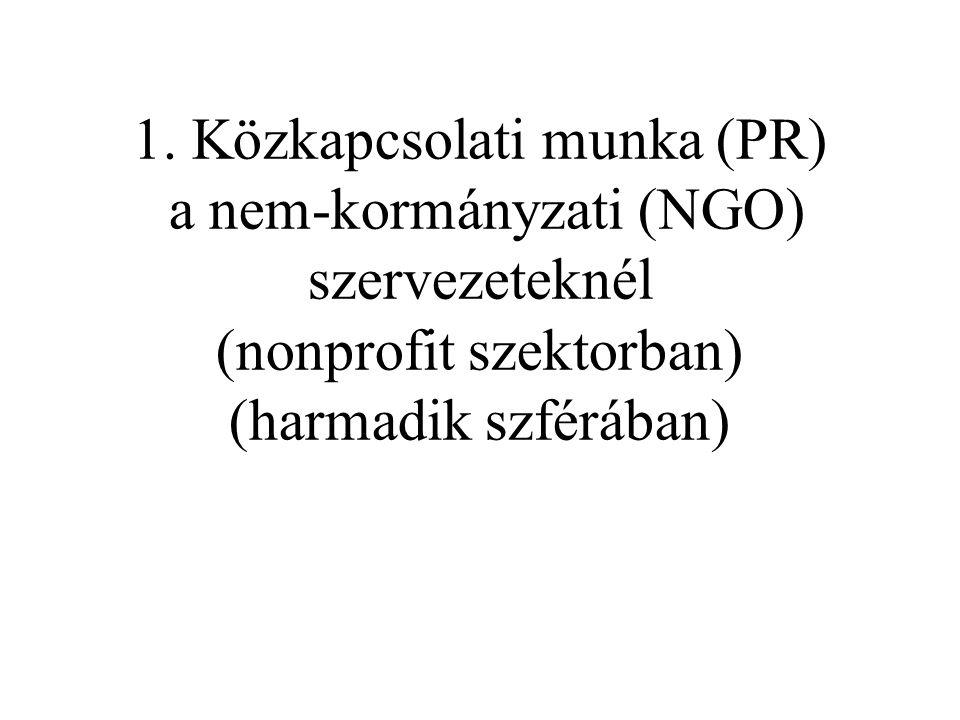 1. Közkapcsolati munka (PR) a nem-kormányzati (NGO) szervezeteknél (nonprofit szektorban) (harmadik szférában)