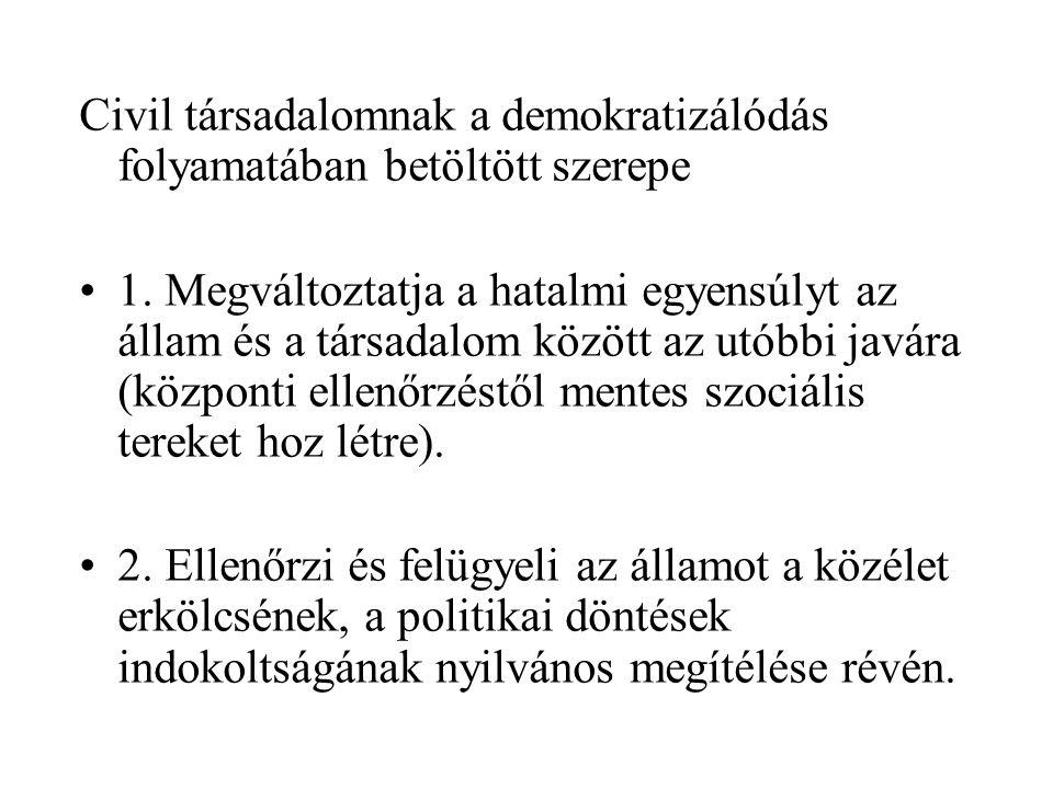 Civil társadalomnak a demokratizálódás folyamatában betöltött szerepe •1.