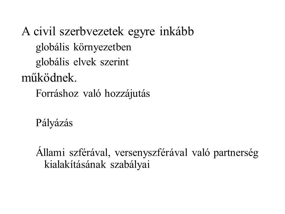 A civil szerbvezetek egyre inkább globális környezetben globális elvek szerint működnek.