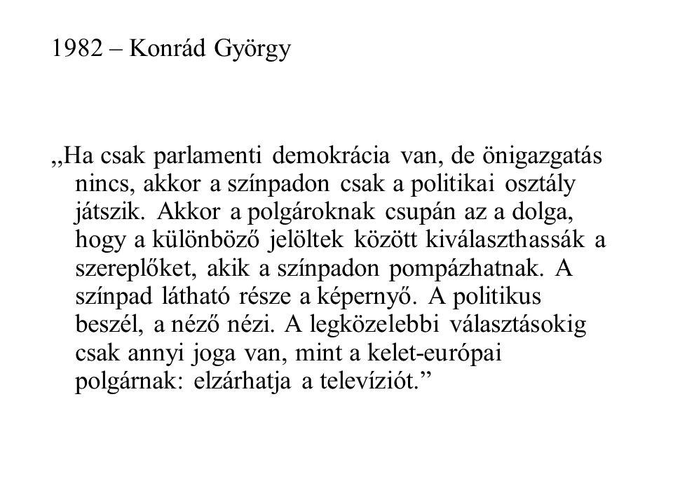 1982 – Konrád György,,Ha csak parlamenti demokrácia van, de önigazgatás nincs, akkor a színpadon csak a politikai osztály játszik.