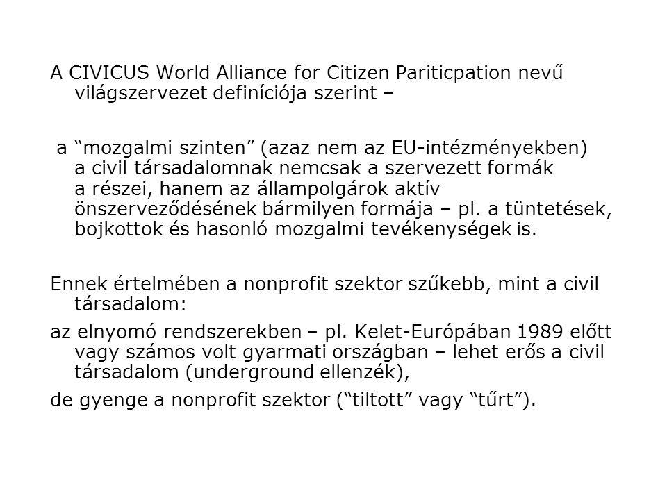 A CIVICUS World Alliance for Citizen Pariticpation nevű világszervezet definíciója szerint – a mozgalmi szinten (azaz nem az EU-intézményekben) a civil társadalomnak nemcsak a szervezett formák a részei, hanem az állampolgárok aktív önszerveződésének bármilyen formája – pl.