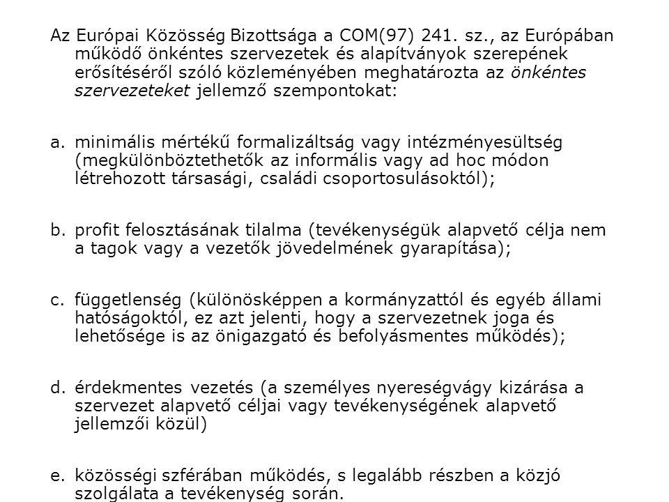 Az Európai Közösség Bizottsága a COM(97) 241.