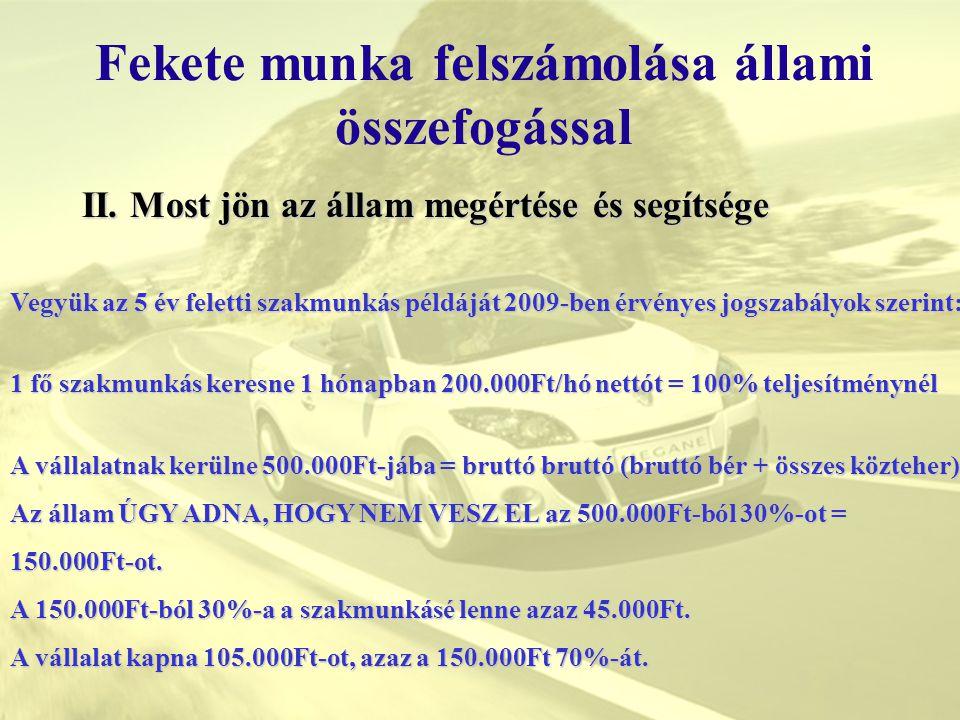II. Most jön az állam megértése és segítsége Fekete munka felszámolása állami összefogással Vegyük az 5 év feletti szakmunkás példáját 2009-ben érvény