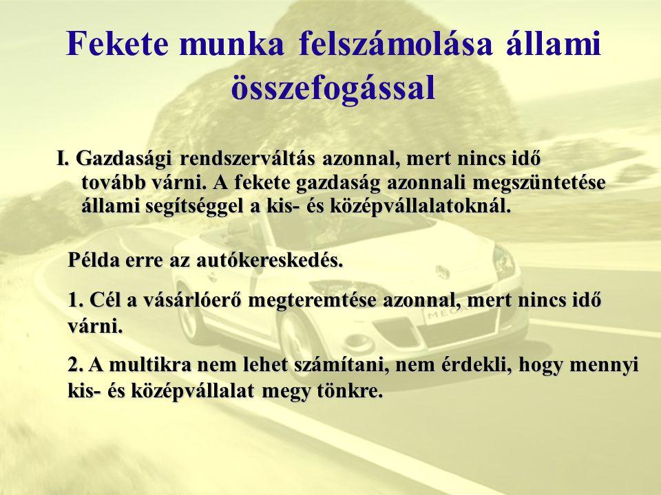 Fekete munka felszámolása állami összefogással C)REZSIÓRADÍJ BEVEZETÉSE A KERESKEDELEMBEN Tehát 1 fő kereskedőnek termelni kell 1.545.600Ft /hó: eladott 6db autót akkor 257.600Ft-ot kell megtermelni 1 autón.