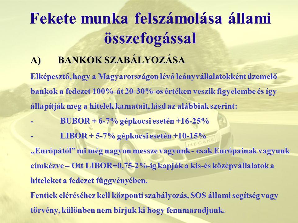 Fekete munka felszámolása állami összefogással A)BANKOK SZABÁLYOZÁSA A)BANKOK SZABÁLYOZÁSA Elképesztő, hogy a Magyarországon lévő leányvállalatokként