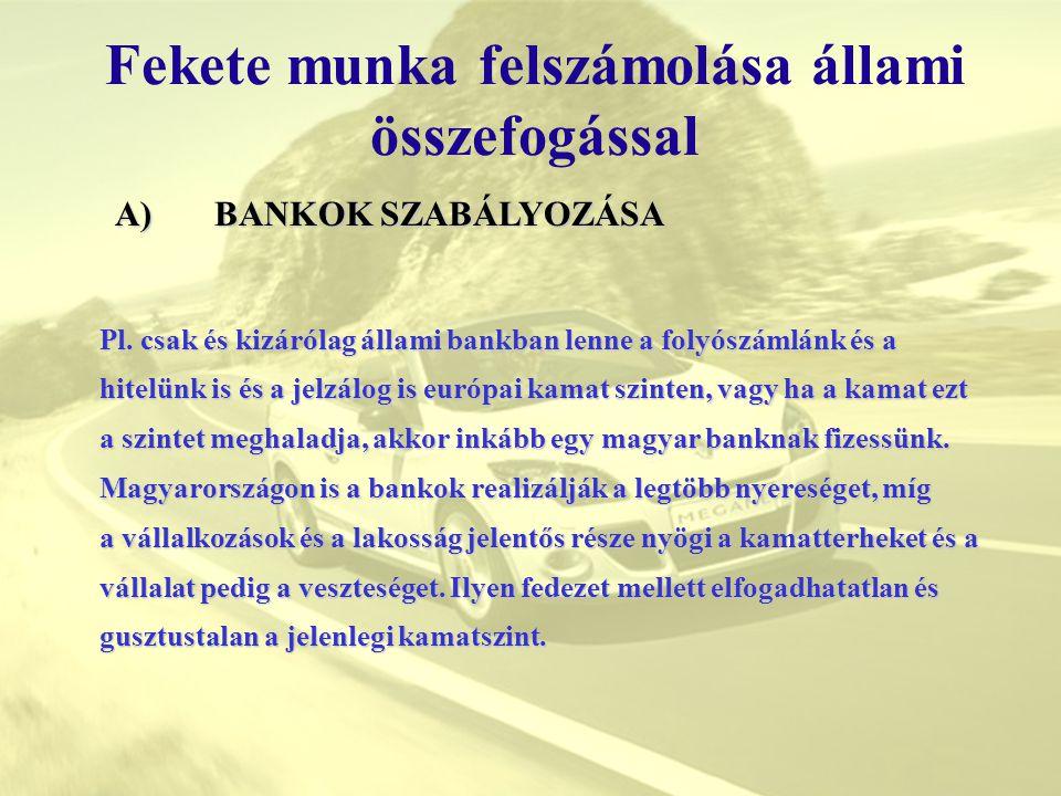 Fekete munka felszámolása állami összefogással Pl. csak és kizárólag állami bankban lenne a folyószámlánk és a hitelünk is és a jelzálog is európai ka