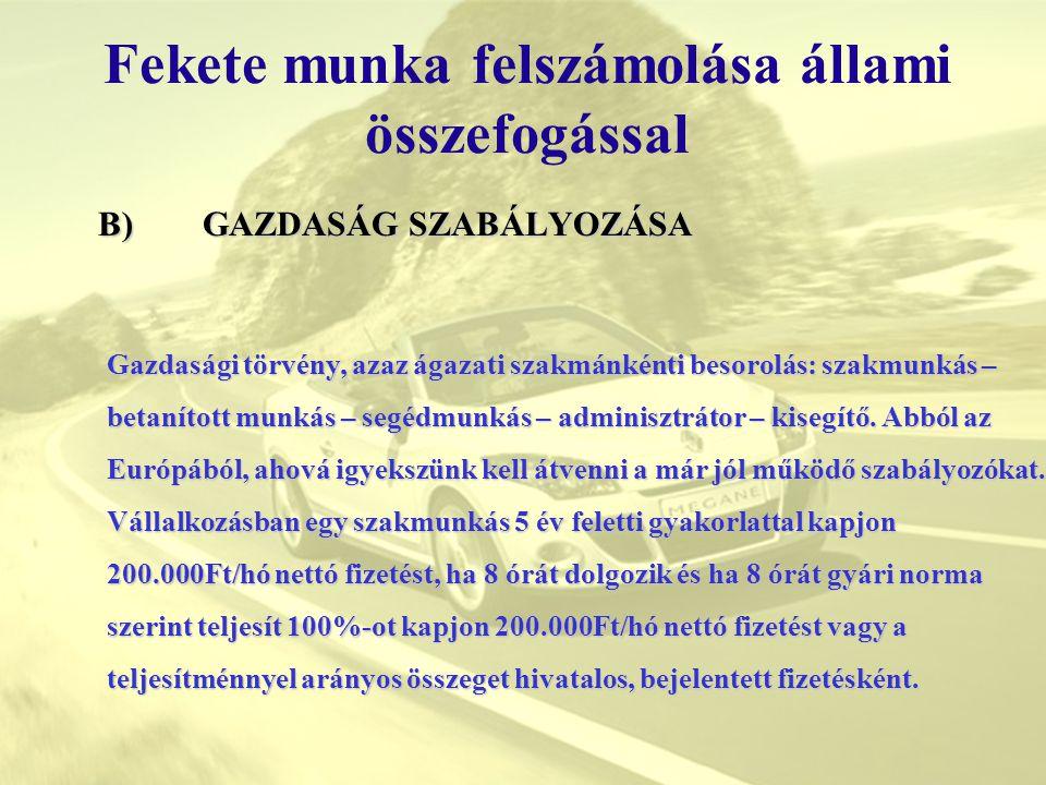 Fekete munka felszámolása állami összefogással B) GAZDASÁG SZABÁLYOZÁSA Gazdasági törvény, azaz ágazati szakmánkénti besorolás: szakmunkás – betanítot