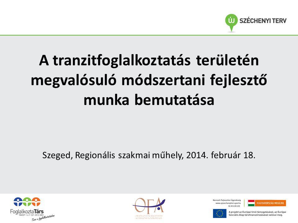 A tranzitfoglalkoztatás területén megvalósuló módszertani fejlesztő munka bemutatása Szeged, Regionális szakmai műhely, 2014.