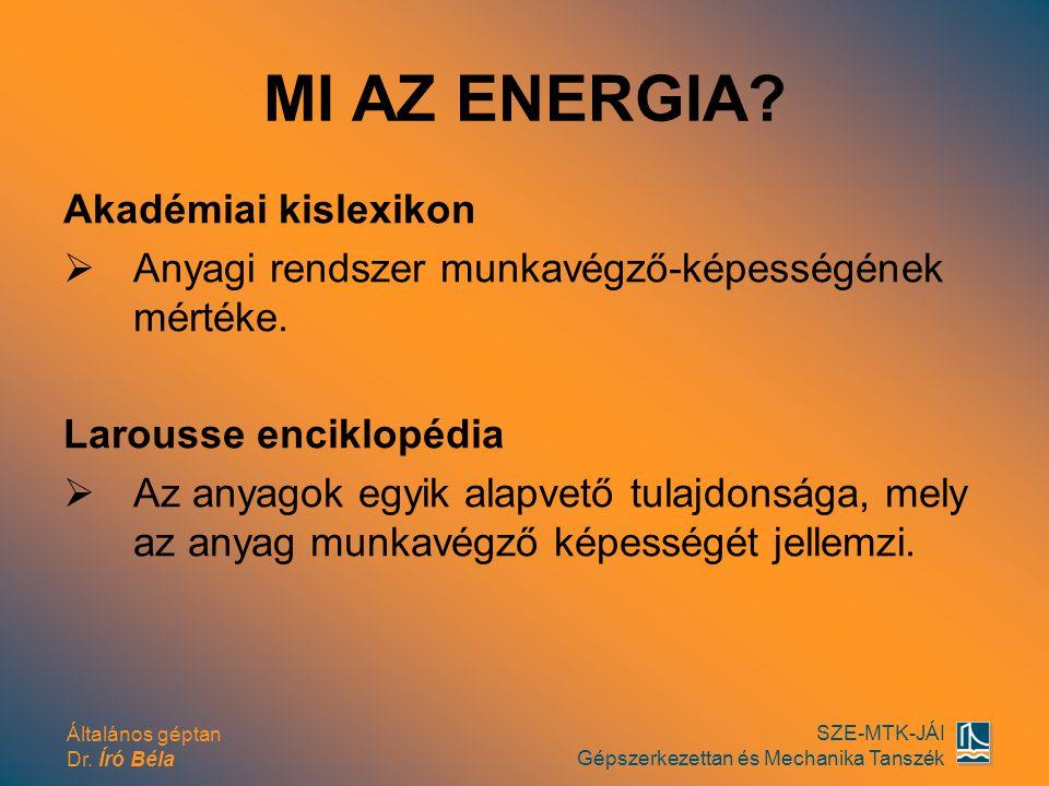 Általános géptan Dr. Író Béla SZE-MTK-JÁI Gépszerkezettan és Mechanika Tanszék MI AZ ENERGIA? Akadémiai kislexikon  Anyagi rendszer munkavégző-képess