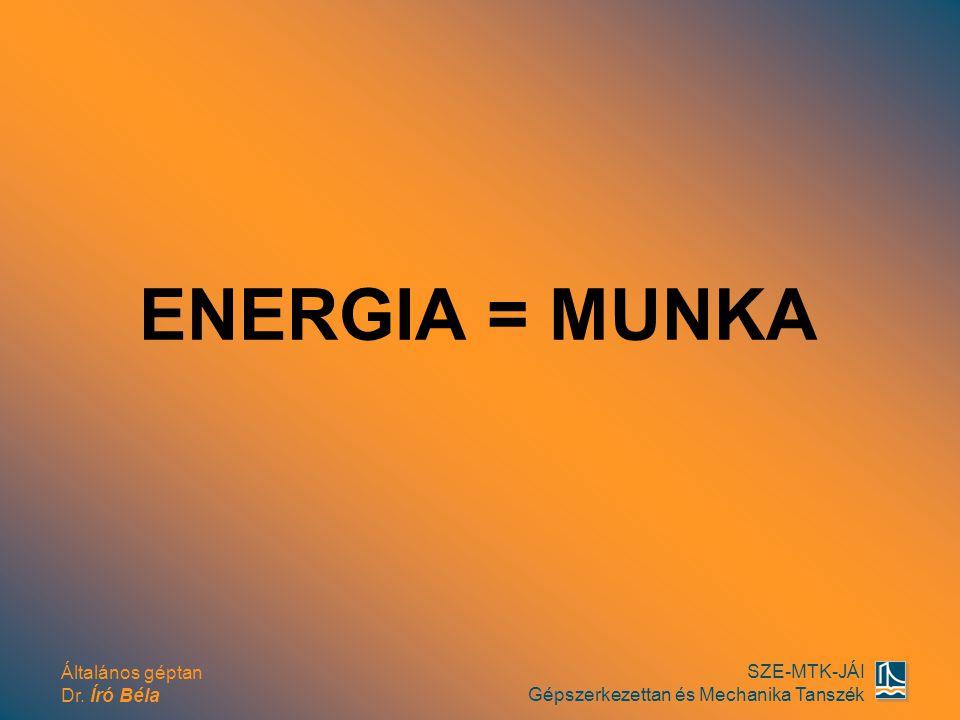Általános géptan Dr. Író Béla SZE-MTK-JÁI Gépszerkezettan és Mechanika Tanszék ENERGIA = MUNKA