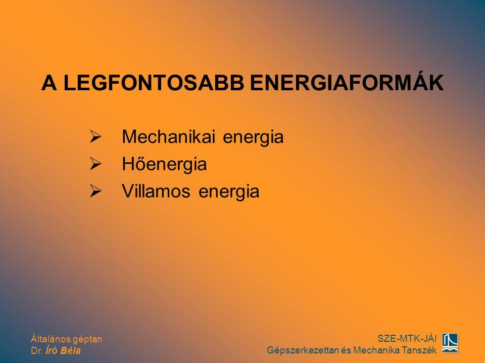 Általános géptan Dr. Író Béla SZE-MTK-JÁI Gépszerkezettan és Mechanika Tanszék A LEGFONTOSABB ENERGIAFORMÁK  Mechanikai energia  Hőenergia  Villamo