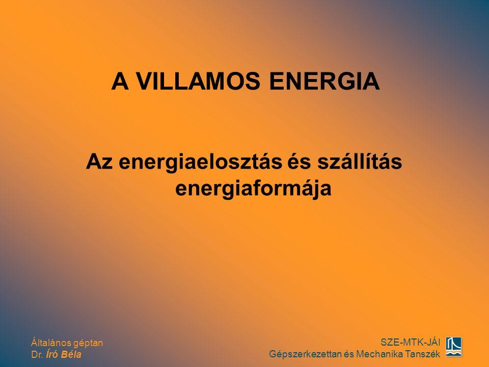 Általános géptan Dr. Író Béla SZE-MTK-JÁI Gépszerkezettan és Mechanika Tanszék A VILLAMOS ENERGIA Az energiaelosztás és szállítás energiaformája