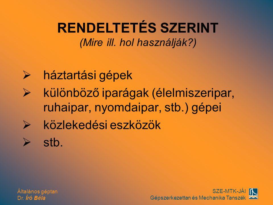 Általános géptan Dr. Író Béla SZE-MTK-JÁI Gépszerkezettan és Mechanika Tanszék hháztartási gépek kkülönböző iparágak (élelmiszeripar, ruhaipar, ny