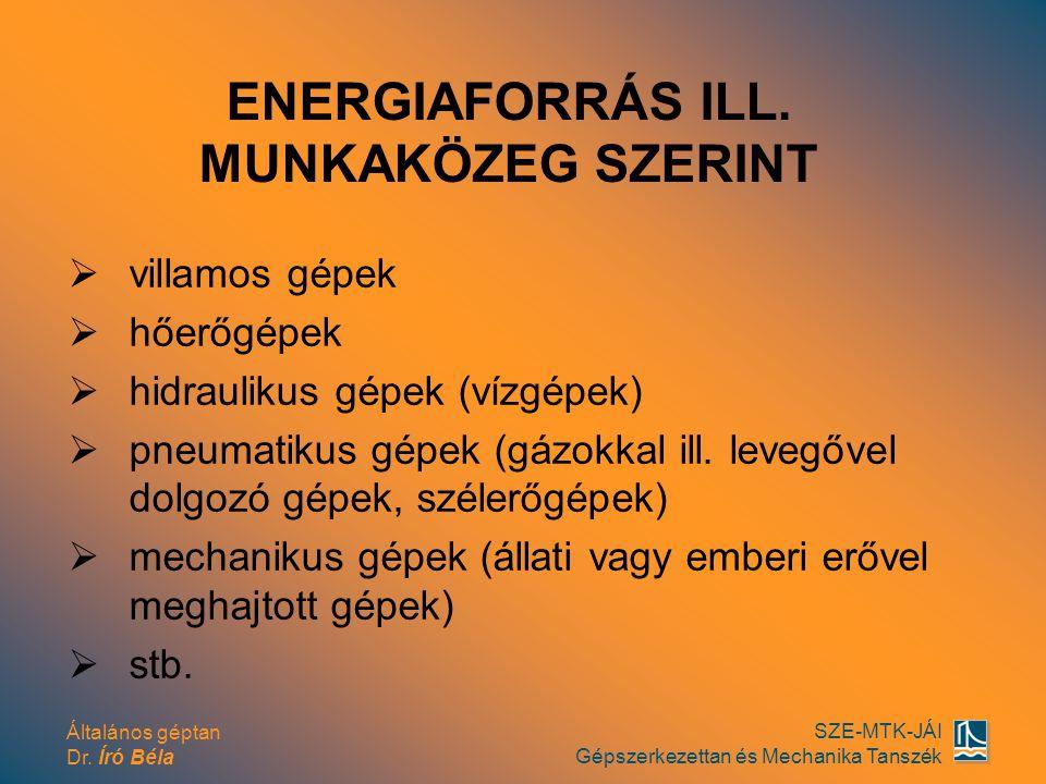Általános géptan Dr. Író Béla SZE-MTK-JÁI Gépszerkezettan és Mechanika Tanszék vvillamos gépek hhőerőgépek hhidraulikus gépek (vízgépek) ppneu