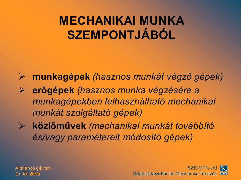 Általános géptan Dr. Író Béla SZE-MTK-JÁI Gépszerkezettan és Mechanika Tanszék  munkagépek (hasznos munkát végző gépek)  erőgépek (hasznos munka vég