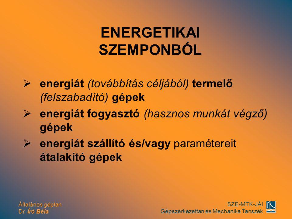 Általános géptan Dr. Író Béla SZE-MTK-JÁI Gépszerkezettan és Mechanika Tanszék  energiát (továbbítás céljából) termelő (felszabadító) gépek  energiá