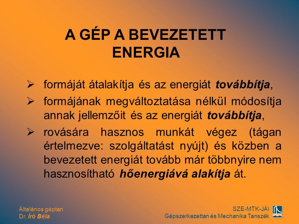 Általános géptan Dr. Író Béla SZE-MTK-JÁI Gépszerkezettan és Mechanika Tanszék  formáját átalakítja és az energiát továbbítja,  formájának megváltoz