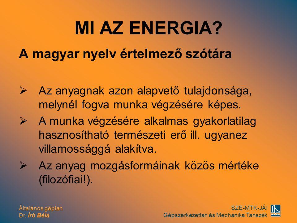 Általános géptan Dr. Író Béla SZE-MTK-JÁI Gépszerkezettan és Mechanika Tanszék MI AZ ENERGIA? A magyar nyelv értelmező szótára  Az anyagnak azon alap