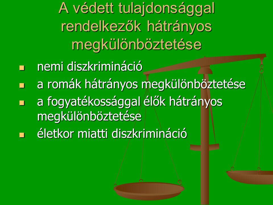 A védett tulajdonsággal rendelkezők hátrányos megkülönböztetése  nemi diszkrimináció  a romák hátrányos megkülönböztetése  a fogyatékossággal élők hátrányos megkülönböztetése  életkor miatti diszkrimináció