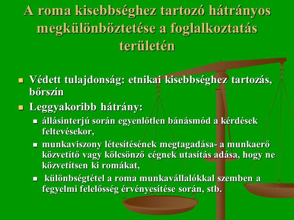 A roma kisebbséghez tartozó hátrányos megkülönböztetése a foglalkoztatás területén  Védett tulajdonság: etnikai kisebbséghez tartozás, bőrszín  Leggyakoribb hátrány:  állásinterjú során egyenlőtlen bánásmód a kérdések feltevésekor,  munkaviszony létesítésének megtagadása- a munkaerő közvetítő vagy kölcsönző cégnek utasítás adása, hogy ne közvetítsen ki romákat,  különbségtétel a roma munkavállalókkal szemben a fegyelmi felelősség érvényesítése során, stb.