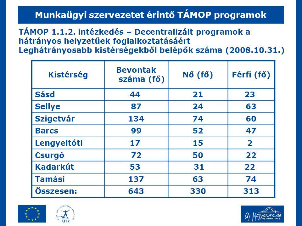 Munkaügyi szervezetet érintő TÁMOP programok TÁMOP 1.1.2. intézkedés – Decentralizált programok a hátrányos helyzetűek foglalkoztatásáért Leghátrányos