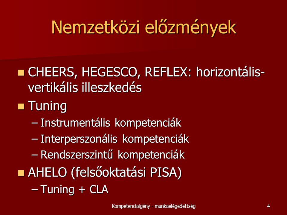 Nemzetközi előzmények  CHEERS, HEGESCO, REFLEX: horizontális- vertikális illeszkedés  Tuning –Instrumentális kompetenciák –Interperszonális kompetenciák –Rendszerszintű kompetenciák  AHELO (felsőoktatási PISA) –Tuning + CLA 4Kompetenciaigény - munkaelégedettség