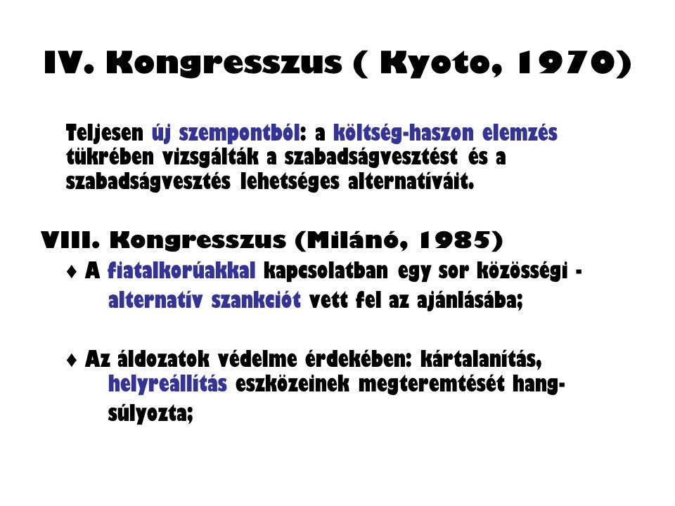 IV. Kongresszus ( Kyoto, 1970) Teljesen új szempontból: a költség-haszon elemzés tükrében vizsgálták a szabadságvesztést és a szabadságvesztés lehetsé