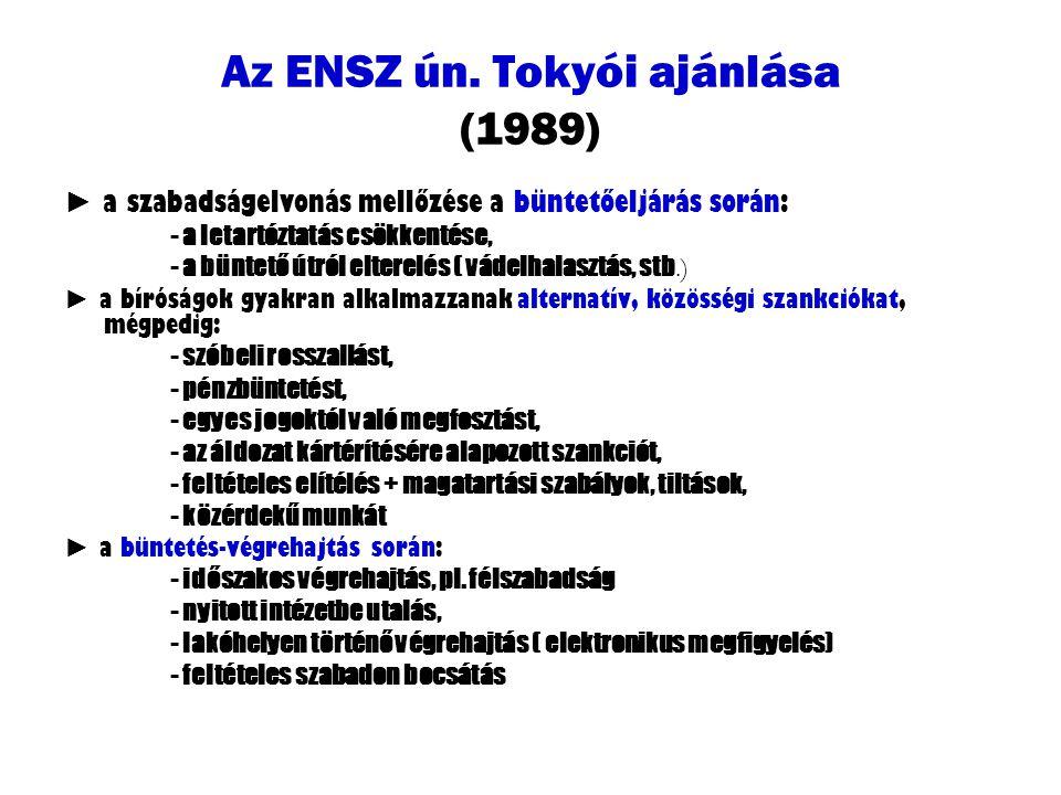 Az ENSZ ún. Tokyói ajánlása (1989) ► a szabadságelvonás mellőzése a büntetőeljárás során: - a letartóztatás csökkentése, - a büntető útról elterelés (