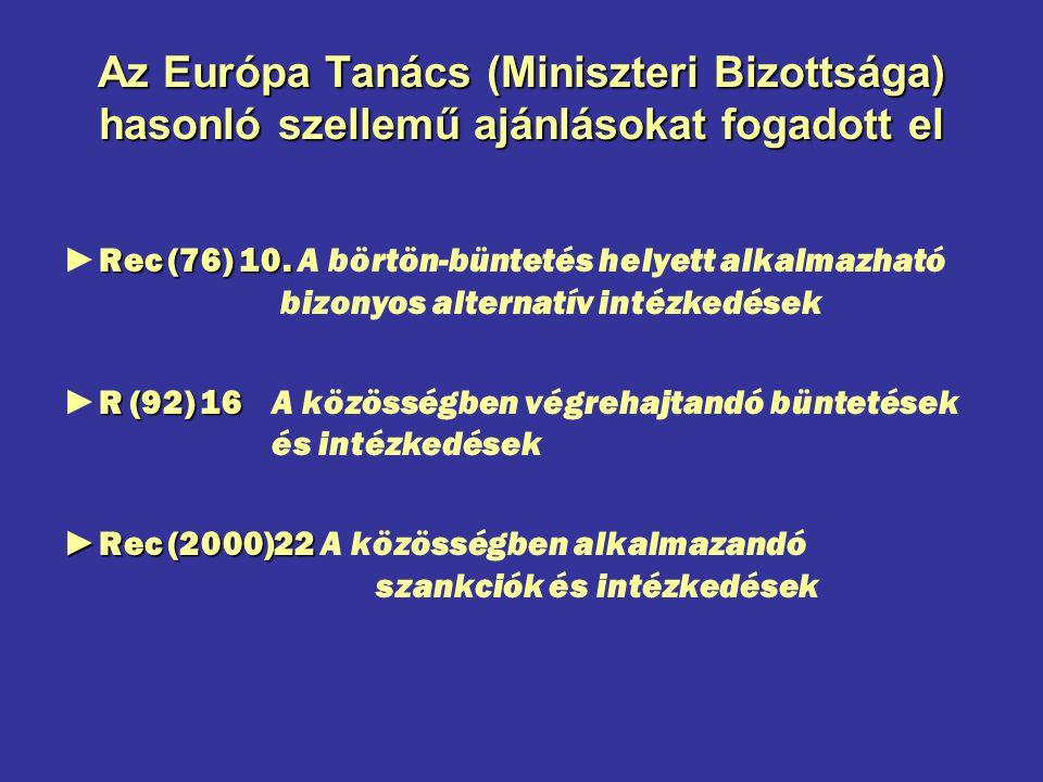Az Európa Tanács (Miniszteri Bizottsága) hasonló szellemű ajánlásokat fogadott el Rec (76) 10. ►Rec (76) 10. A börtön-büntetés helyett alkalmazható bi