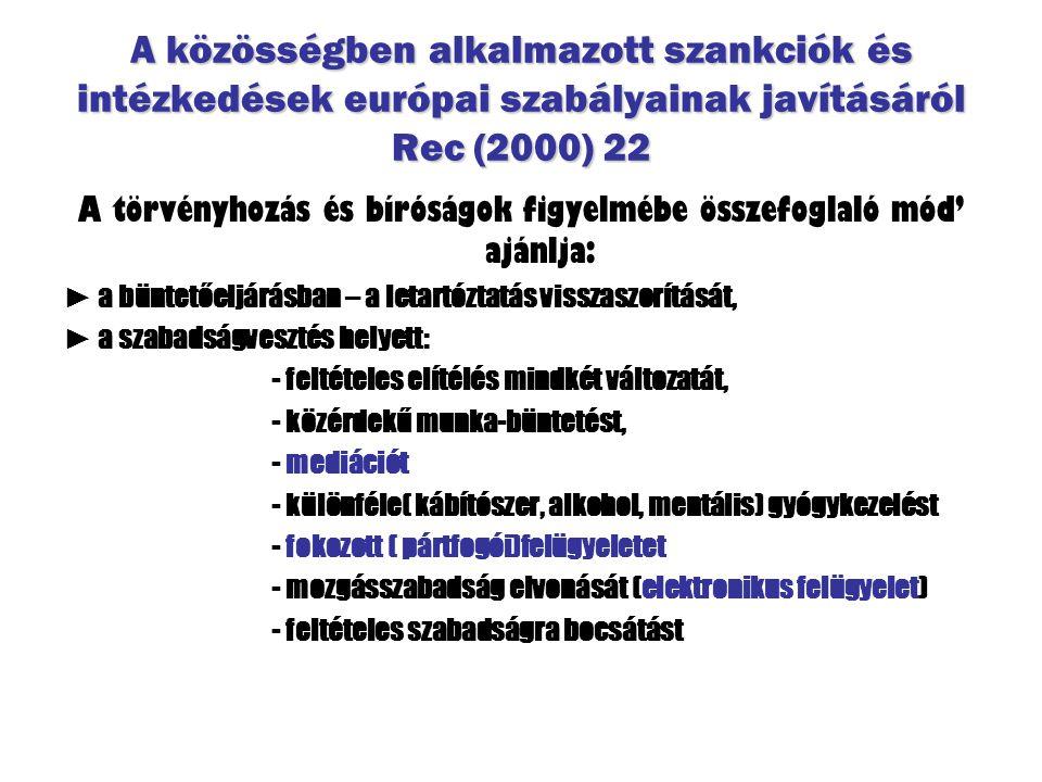 A közösségben alkalmazott szankciók és intézkedések európai szabályainak javításáról Rec (2000) 22 A törvényhozás és bíróságok figyelmébe összefoglaló